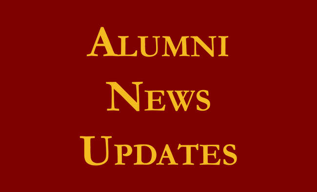 alumni news updates yellow text on maroon background